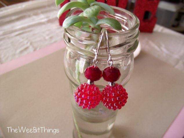 Red Dangle Earrings - Crystal Beads