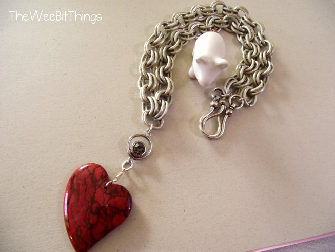 Chunky Chain Necklace with Red Jasper Heart Pendant