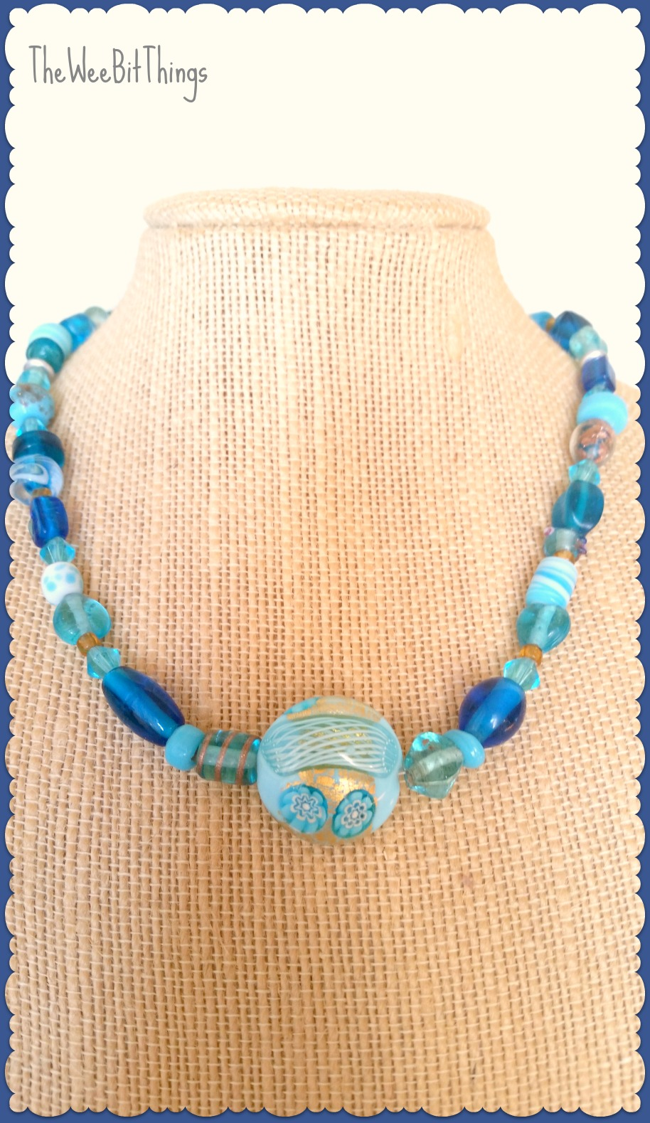 Glass Bead Necklace in Blue