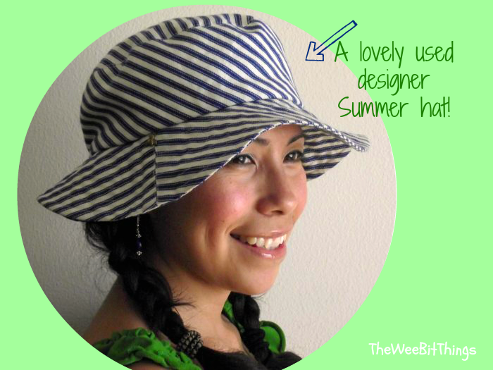 Used Tracy Watt Summer Hat, pinstripe fisherman