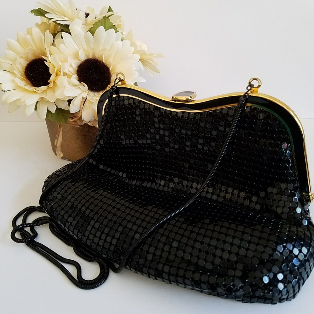Vintage Black Metal Mesh Evening Bag