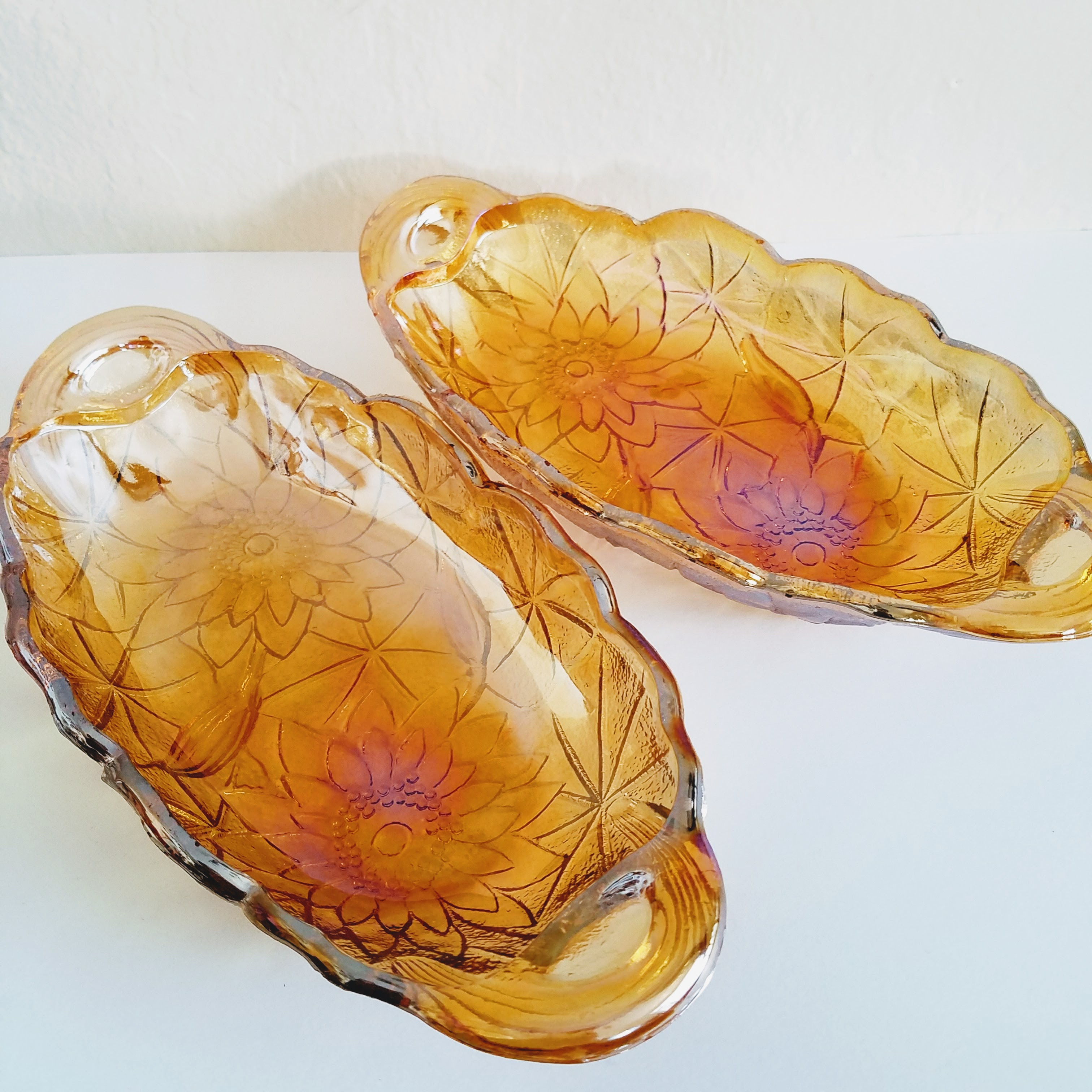 Image of Amber Carnival Glass Dishes