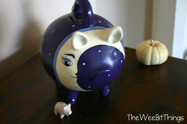 Hand Painted Purple Piggy Bank
