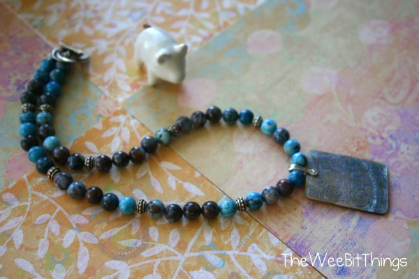 Blue Beaded Necklace with Pendant