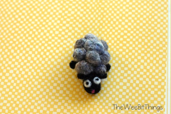 Animal brooch pin, wool felt lamb