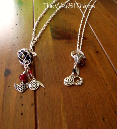 Charm Necklace with Wire Wrapped RIng