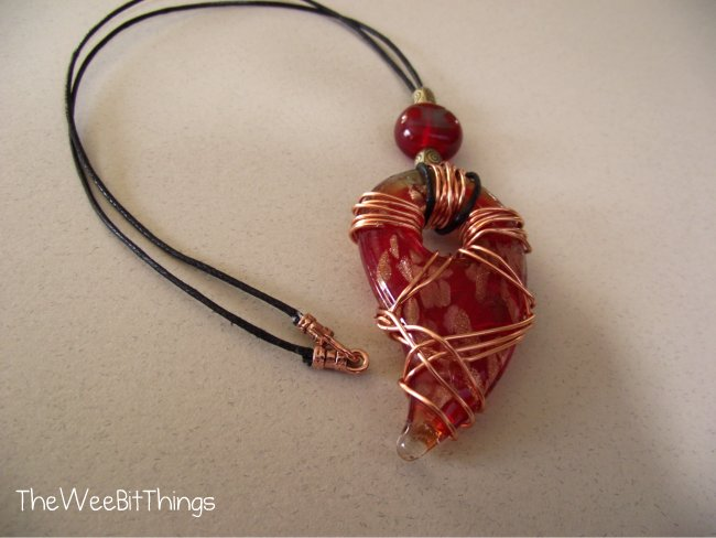 Fused Glass Pendant Wire Wrapped Necklace