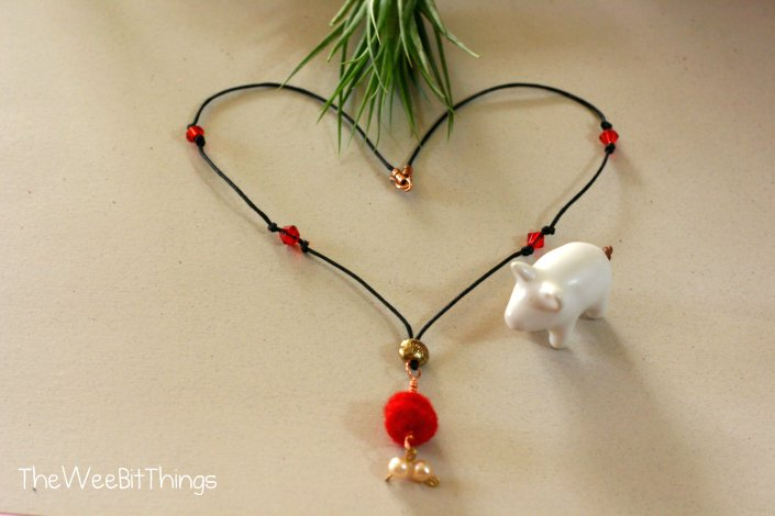 Red Felt Ball Pendant Necklace