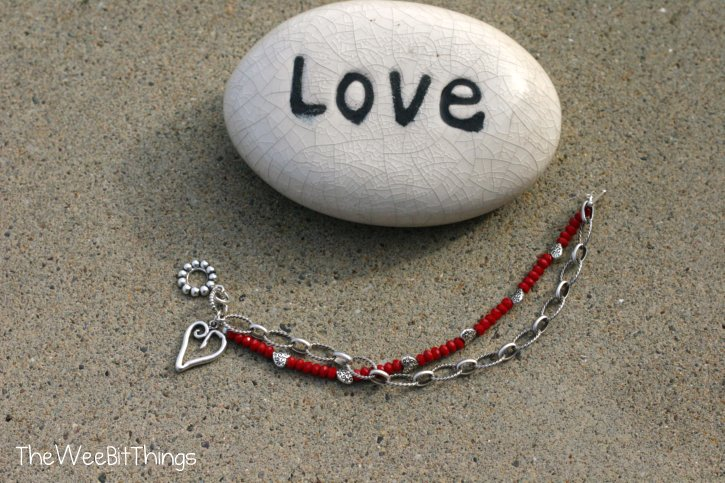 Silver Heart Charm Bracelet with Red Crystal Beads