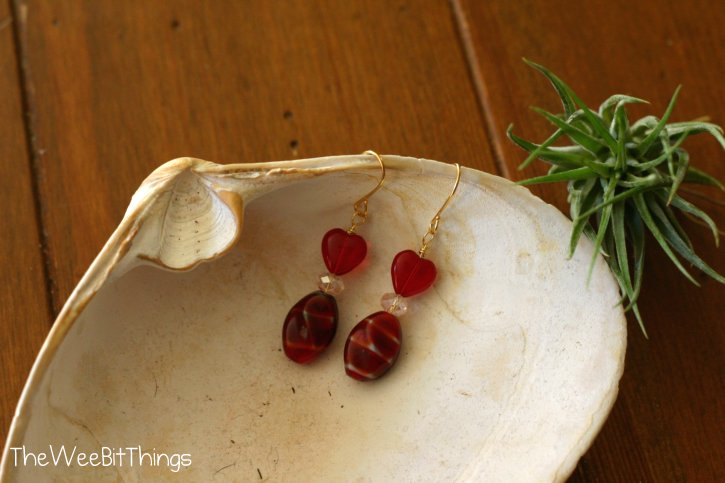 Red Dangle Earrings with Glass Heart bead and Pink Crystal Beads