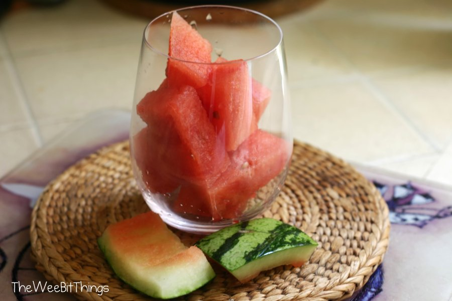 Diced Watermelon in a Glass