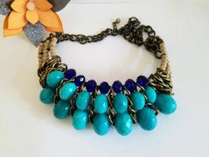Vintage Blue Bib Necklace