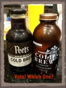 Image of Peets and Starbucks Bottled Cold Brews side by side